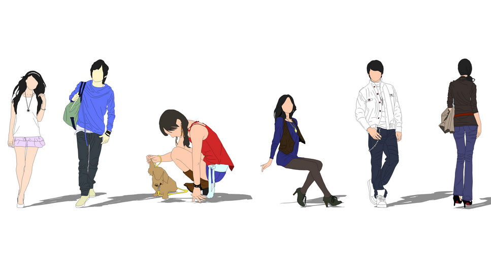 2D女人物組合SU模型【ID:136836753】