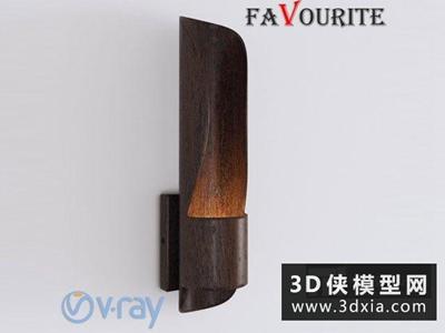 現代木質壁燈國外3D模型【ID:829504890】