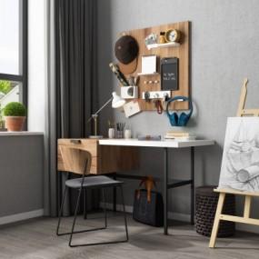 现代书桌椅画架摆件组合3D模型【ID:127776924】