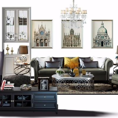 美式沙发茶几边柜电视柜餐桌椅组合3D模型【ID:128397033】