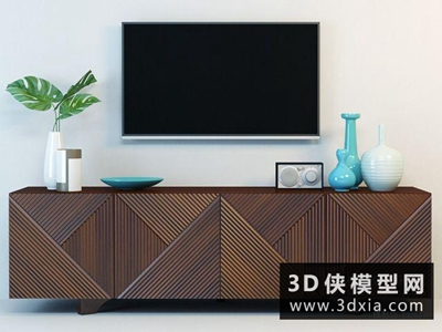 现代木质电视柜组合国外3D模型【ID:829389000】