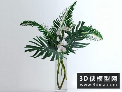 現代插花裝飾品國外3D模型【ID:929380848】