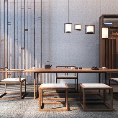 新中式实木泡茶桌椅3D模型【ID:328439664】