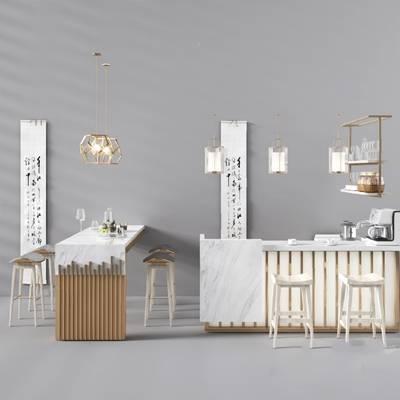 新中式吧台椅组合3D模型【ID:324887526】