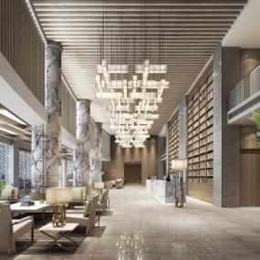 新中式酒店大堂3D模型【ID:428443245】