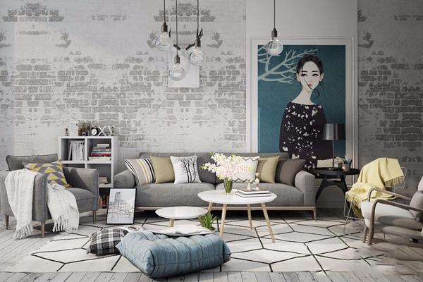 北歐沙發休閑椅組合3D模型【ID:128218076】