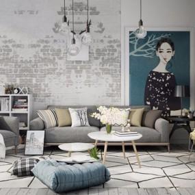 北欧沙发休闲椅组合3D模型【ID:128218076】