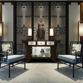 新中式玄关椅子案台组合3D模型【ID:927878823】