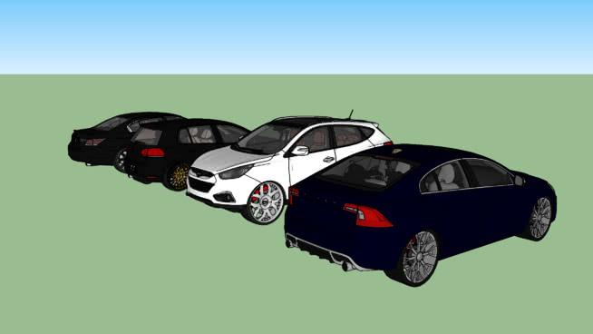 改裝汽車丹尼斯/本田雅閣+大眾高爾夫+現代IX35+沃爾沃S60SU模型【ID:438820942】