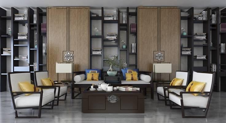 中式沙发茶几组合3D模型【ID:620608087】