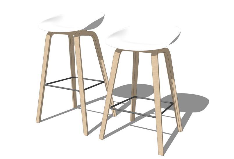 吧台椅子SU模型【ID:936841432】
