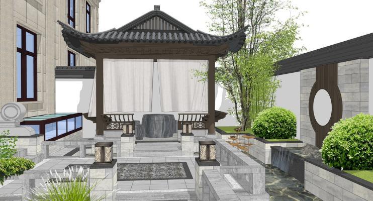 新中式庭院景观SU模型【ID:545212942】
