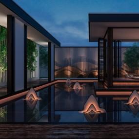 新中式屋顶花园3D模型【ID:928562936】