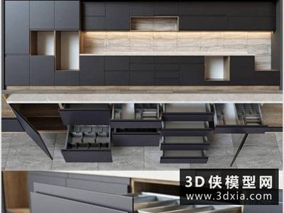 現代廚柜國外3D模型【ID:829361041】