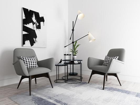 现代北欧休闲椅茶几3D模型【ID:327896695】