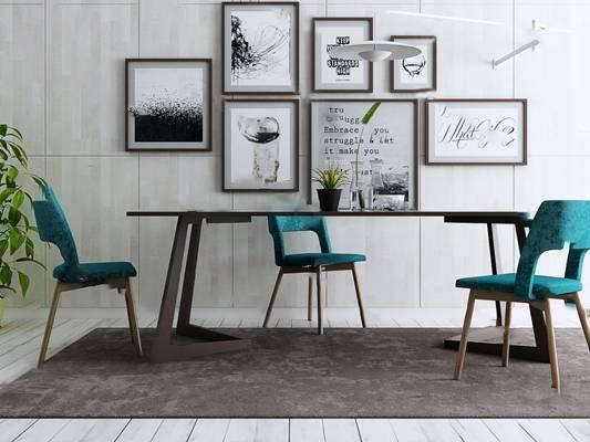 北欧桌椅组合3D模型【ID:320608576】