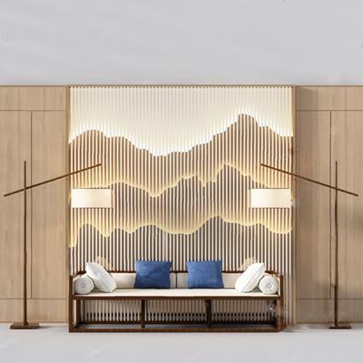 新中式三人沙发3D模型