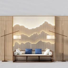 新中式三人沙发3D模型【ID:926227866】
