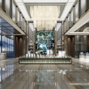 新中式售楼处大厅3D模型【ID:427795557】