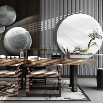 新中式茶室桌椅茶具摆件组合3D模型【ID:327793640】