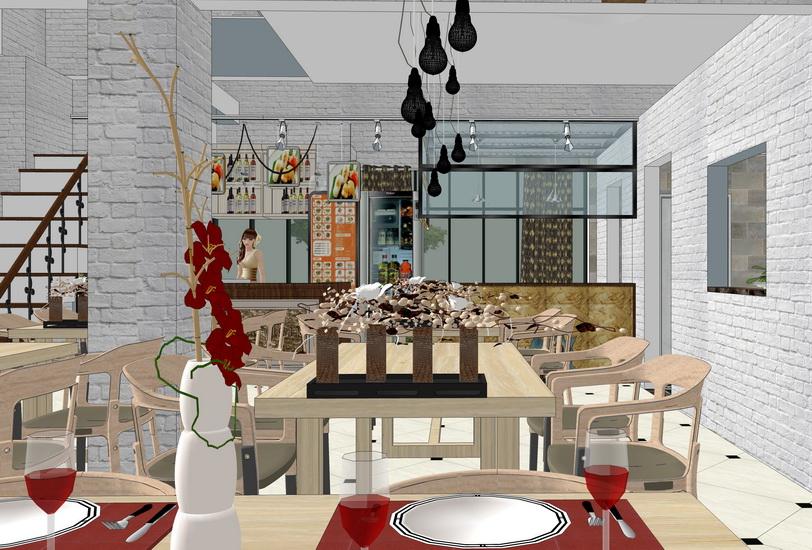 中式風格餐廳室內設計SU模型【ID:936846871】