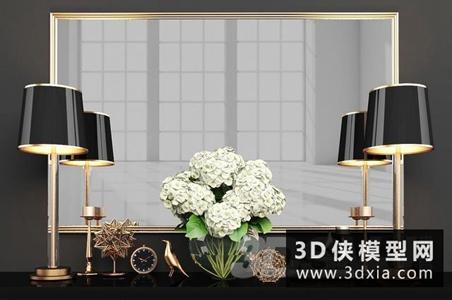 现代装饰品组合国外3D模型【ID:929325844】