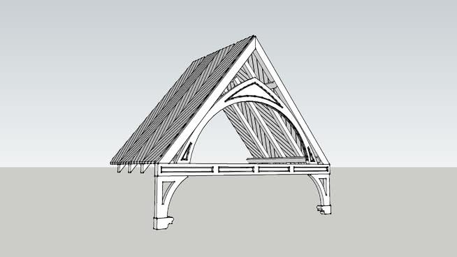簡單可堆疊的哥特式錘梁屋頂組合件SU模型【ID:240248208】