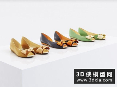 女式鞋子國外3D模型【ID:929823690】