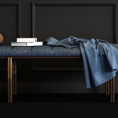 现代金属布艺脚榻床尾凳搭巾组合3D模型【ID:427835671】