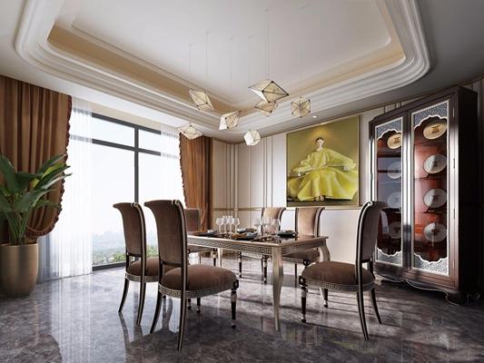 新古典餐廳3D模型【ID:828153565】
