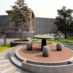 现代景观庭院露台3D模型【ID:828148495】