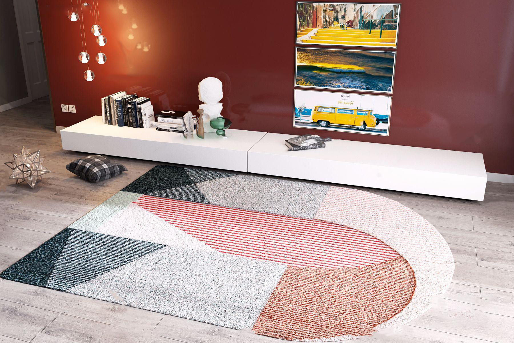 现代布艺地毯挂画电视柜组合3D模型【ID:342179293】