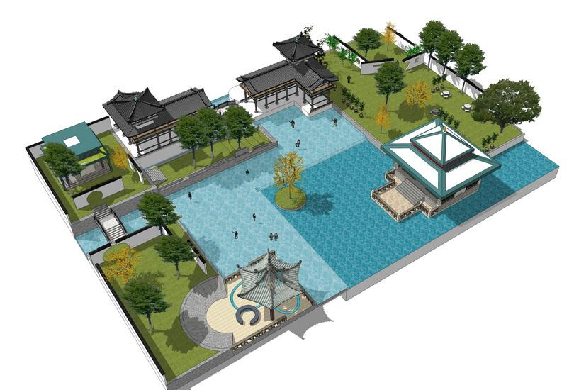 嬉水公園景觀設計SU模型【ID:536852742】