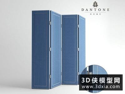 現代布藝屏風國外3D模型【ID:929583573】