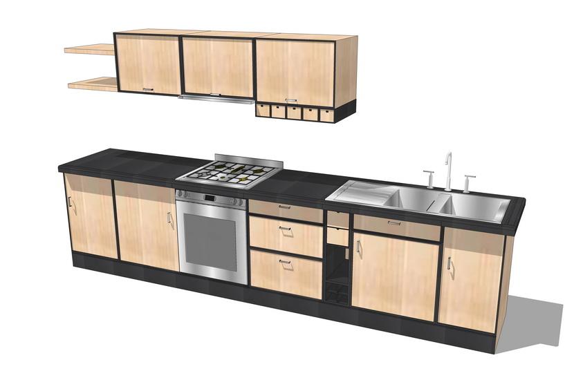 厨房橱柜组合SU模型【ID:736852198】