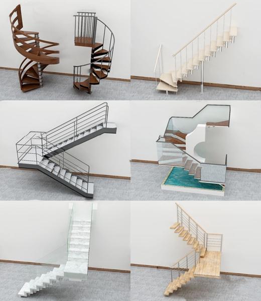 現代轉角樓梯3D模型【ID:347290515】