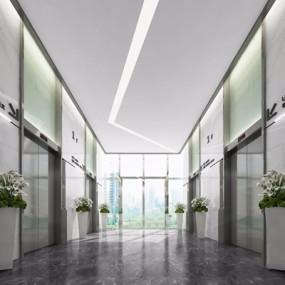 现代电梯厅3D模型【ID:427981984】