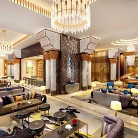 东南亚酒店餐饮区3D模型【ID:728156873】