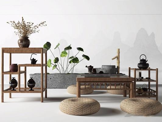 新中式茶桌椅組合3D模型【ID:628053050】