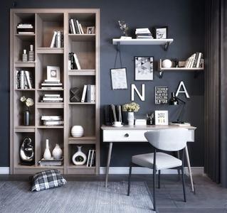 現代書桌椅書架組合3D模型【ID:131393921】