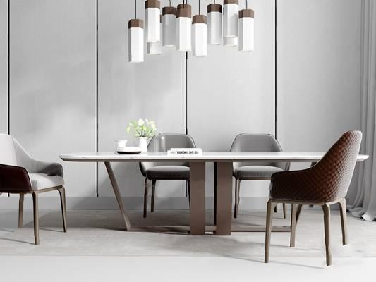 北欧餐桌椅组合3D模型【ID:124882807】