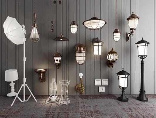 北歐現代工業loft壁燈落地燈臺燈攝影燈開關吊燈燈具組合3D模型【ID:928158814】