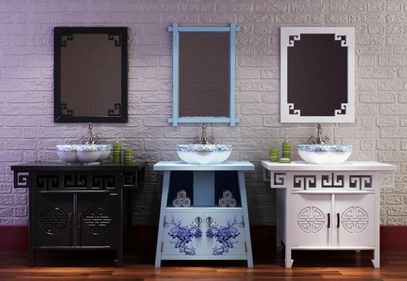 新中式浴室柜洗手盆掛鏡藝術臺盆3D模型【ID:227878342】