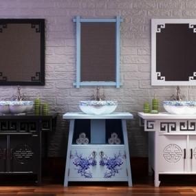 新中式浴室柜洗手盆挂镜艺术台盆3D模型【ID:227878342】
