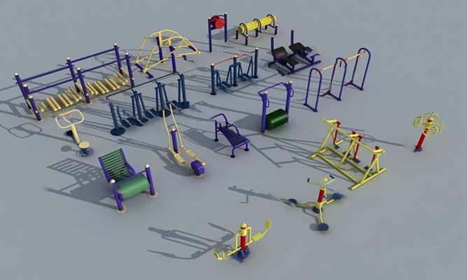 现代健身器材3D模型下载
