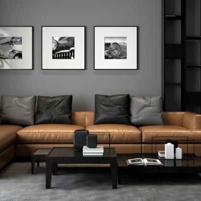 现代皮革转角沙发组合3D模型【ID:128406099】