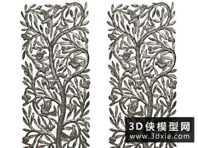 現代金屬雕花板國外3D模型【ID:929355585】