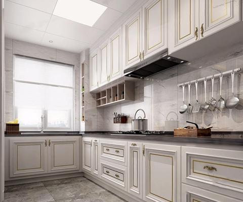 美式厨房3D模型【ID:528018006】