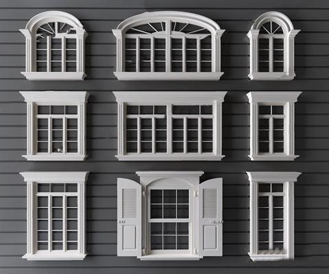 簡歐窗戶3D模型【ID:728312657】