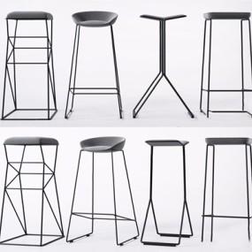 现代简约吧椅组合3D模型【ID:328243158】
